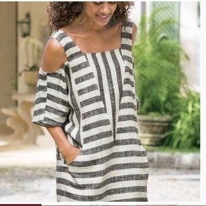 For Cynthia Cold Shoulder Linen Tunic Gray Striped